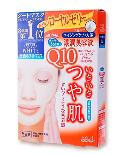 Kose Clearturn White Coenzyme Q10 Paper Facial Mask---5 Piece (japan import)