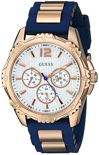 GUESS  Comfortable Rose Gold-Tone + Iconic Blue Stain Resistant Silicone Strap with Day, Date + 24 Hour Military/Int