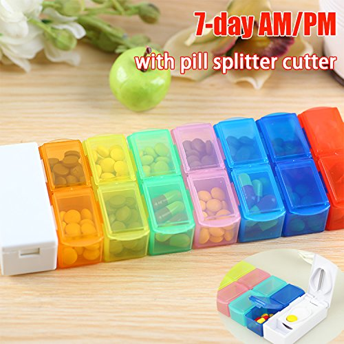 GreatforU 14 Detachable Compartments Pill Organizer Box with Pill Splitter Cutter, Medicine Weekly Reminder with Translucent Snap Lids 7-day AM/PM for Pills, Vitamins, Twice-a-Day, Travel Pill Planner Pro Am Tackle