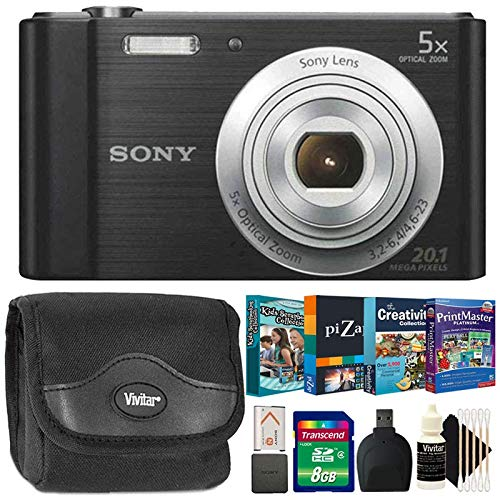 Sony CyberShot DSC W800 Silver 20.1MP Slim Point and Shoot Camera Black with Photo Editing and Kids Scrapbooking Collection Softwares and More Accessories