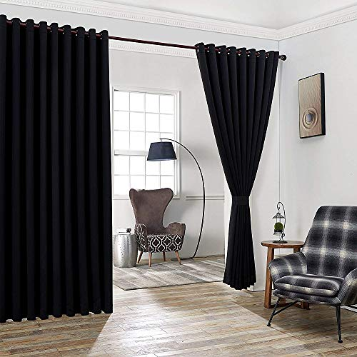 Warm Home Designs Extra Large 2 Black Wall to Wall Curtains 108