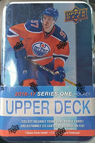 2016 2017 Upper Deck NHL Hockey Series One Factory Sealed Unopened Collectible TIN Box of 12 Packs and Chance for Game Used Jerseys, Rookie Cards and (Game Used Jersey Cards)