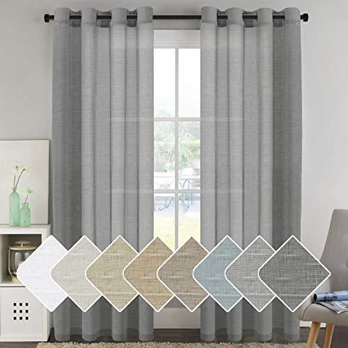 (H.VERSAILTEX Natural Linen Blended Window Curtain Panels - Light Filtering Linen Sheer Curtains Nickel Grommet for Bedroom/Living Room (Set of 2, 52