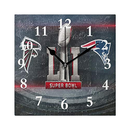 FunnyCustom Square Wall Clock Patriot Super Bowl Championship Wallpaper 7.8 Inch Creative Decorative for Living Room/Kitchen/Bedroom