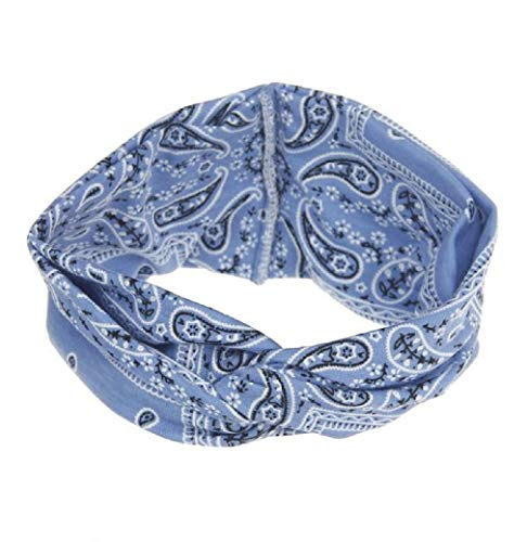 iNoDoZ Women's Yoga Sport Running Headband Elastic Floral Hair Band Turban Twisted Knotted Headwear Blue