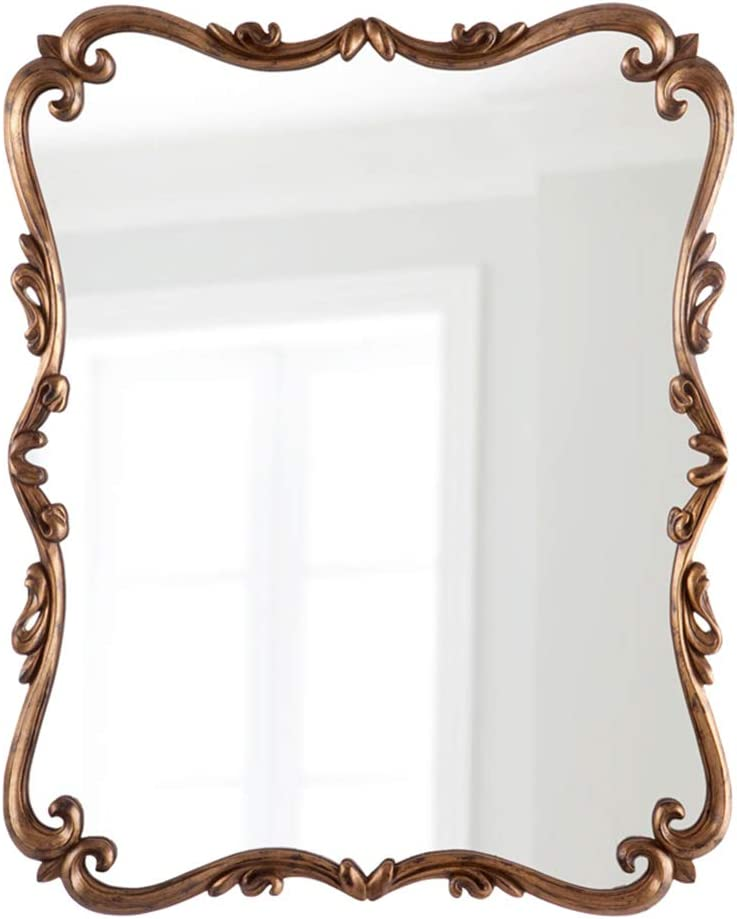 Amazon Com Wall Mirror Vintage Decorative Large Baroque Mirror For Hotel Home Vanity Mirror Antique Gold Hand Carved Frame 27 5in 39 3in Home Kitchen