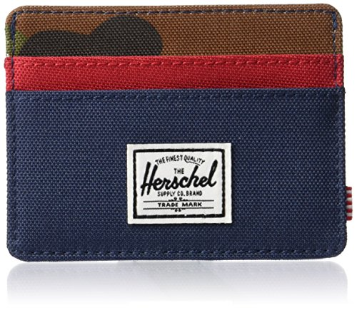 Herschel Men's Charlie RFID Wallet, Navy/Woodland Camo/Red, One Size