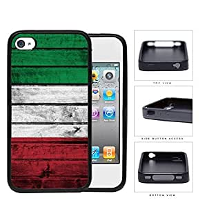 Italian Flag On Wood Rubber Silicone TPU Cell Phone Case Apple iPhone 4 4s
