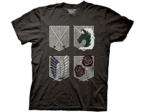 - Ripple Junction Attack on Titan 4 Sheilds Adult T-Shirt Small Charcoal