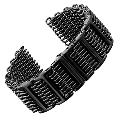 Geckota Shark Mesh H Link Butterfly Stainless Steel Watch Band IP Black 22mm from Geckota