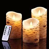 Bingolife Flameless Candles 4'' 5'' 6'' Birch Bark Effect with Moving LED Flame and 10-key Remote Control - 2/4/6/8 Hours Timer - Set of 3