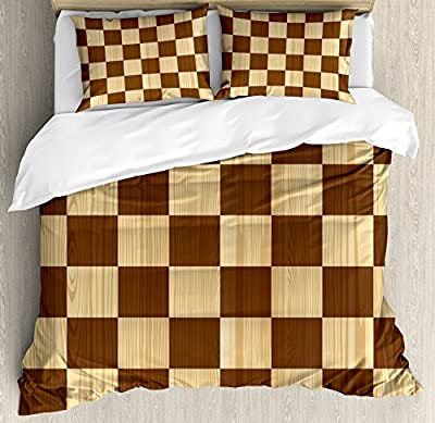 Checkered Duvet Cover Set by Ambesonne, Empty Checkerboard Wooden Seem Mosaic Texture Image Chess Game Hobby Theme, Decorative Bedding Set with Pillow Shams, Brown Light Brown