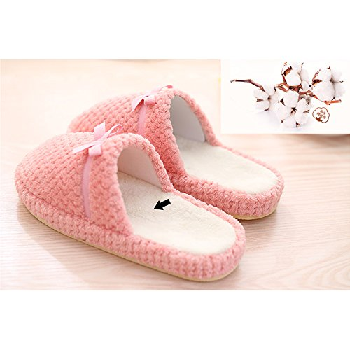 Eastlion Women and Men's Winter Indoor Anti-skid Keep Warm Slipper Fleece Slippers House Slippers Home Shoes Light Pink dyHK7ISD