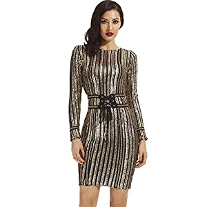 whoinshop Women's Sequins with Belt Long Sleeve Round Neck Bodycon Party Dress