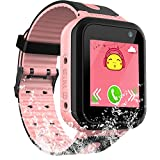 PalmTalkHome Kids Waterproof Smart Watch for Girls Boys -2018 IP67 Water-Resistant Children Smartwatch with GPS/LBS Tracker SOS Camera Game for Summer Outdoor Sports Watch Phone (01 S7 Pink)
