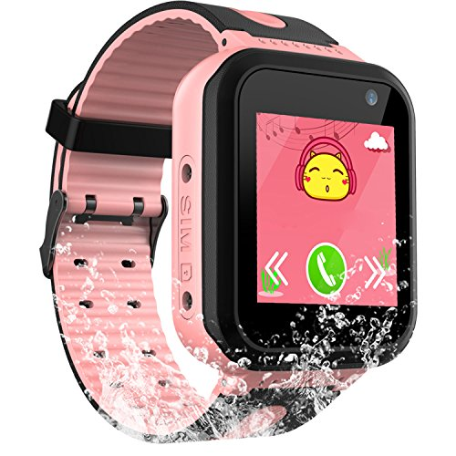 PalmTalkHome Kids Waterproof Smart Watch for Girls Boys -2018 IP67 Water-resistant Children Smartwatch with GPS/LBS Tracker SOS Camera Game for Summer Outdoor Sports Watch Phone (01 S7 Pink) by PalmTalkHome