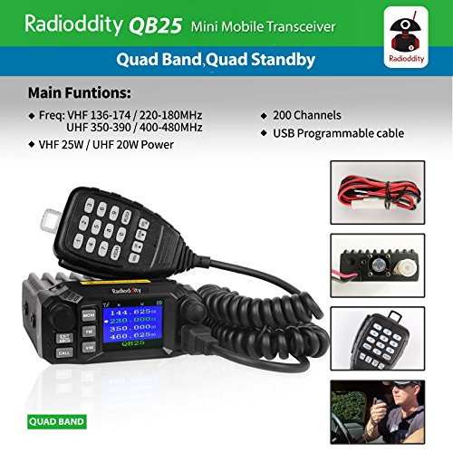 Radioddity QB25 Pro Quad Band Quad-standby Mini Mobile Car Truck Radio, VHF UHF 144/220/350/440 MHz, 25W Vehicle Transceiver with Cable & CD + 50W High Gain Quad Band Antenna by Radioddity (Image #4)