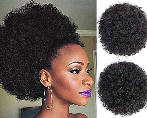 AISI QUEENS Afro Puff Kinky Curly Drawstring Ponytail Bun Synthetic Hair for African American updo Hair Extension large size Black color with 4 Clips