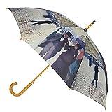 CTM Women's Auto Open Paris Street Rainy Day Print Stick Umbrella, Paris Street