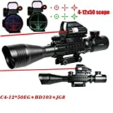 RioRand 3 in 1 Rifle Scope C4-12x50eg Dual Illuminated Optical Rifle Scope for Hunting+tactical Red Dot Sight Scope+red Sight for Air Rifles