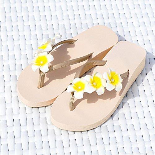 On Casual Summer Beige Chicas Sandal Platform Holiday Wedge Damas EVA Slipper 7cm Wedge Toe para Mid EU Flores con Slip Tamaño Talón Mujer Edición Mid Sweet Beach Heel 3 5cm en Clip Amarillas 40 0qRYUwT