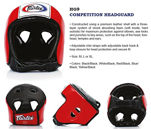 Bangplee_Sport Fairtex HG9 Competition Head Guard - Protective for Boxing, Kick Boxing, Muay Thai MMA (Black/Black, M)