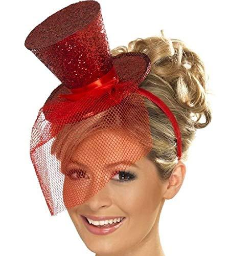 AnyBack Top Party Hats Fascinators Costume Headwear Veil Hairband Tea Vintage Hats for Women Ladies Girls Bridal Red 1 Pack ()
