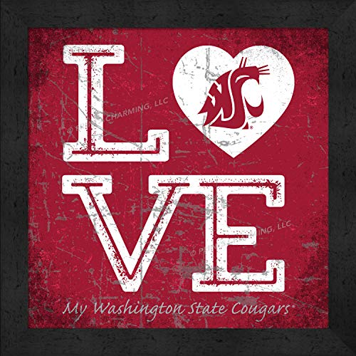 Prints Charming College Love My Team Logo in Heart Square Color Washington State Cougars Framed Posters 13x13 Inches