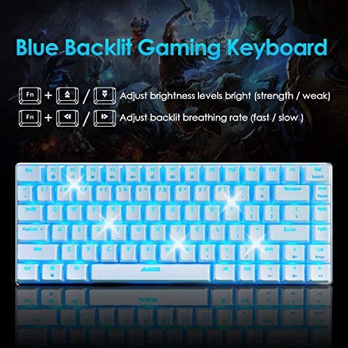 Gaming Keyboard and Mouse,3 in 1 Gaming Set,Blue LED Backlit Wired Gaming Keyboard,RGB Backlit 12000 DPI Lightweight Gaming Mouse with Honeycomb Shell,Large Mouse Pad for PC Game(Macaron Green) 51HhngYt7zL