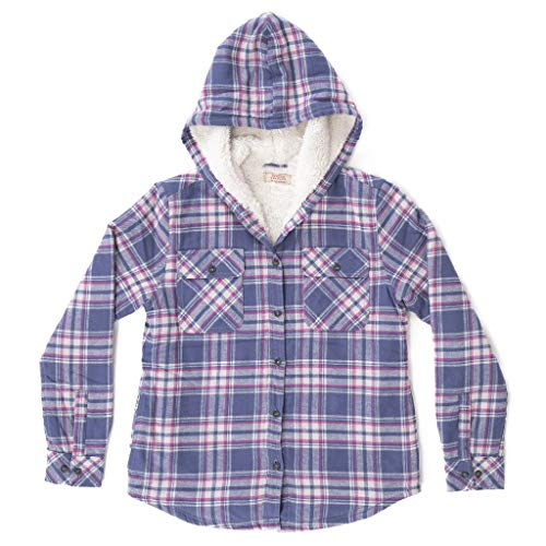 Boston Traders Girl's Hooded Shirt Jacket, Gray Blue, -