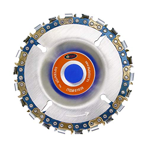 Wood Carving Disc,IRmm 4 Inch Angle Grinder Chain Disc Double Saw Teeth Anti-Kickback Woodcarving Saw Blade,22 Teeth, 5/8