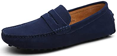Go Tour Mens Loafers Penny Moccasins Driving Drivers Casual Dress Suede Leather Slip On Flats Boat