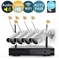 [Audio & Video] 4 Channel 1080p HD Wireless security Camera System with 1TB Hard Drive and 4 Infrared Outdoor 2.0Megapixel WiFi IP Cameras, Auto-Pair, NVR built-in Router,Remote access