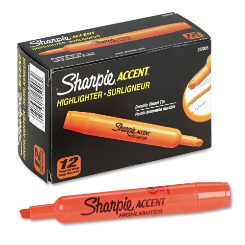 Sharpie Accent 25006 - Accent Tank Style Highlighter, Chisel Tip, Orange, 12/Pk-SAN25006