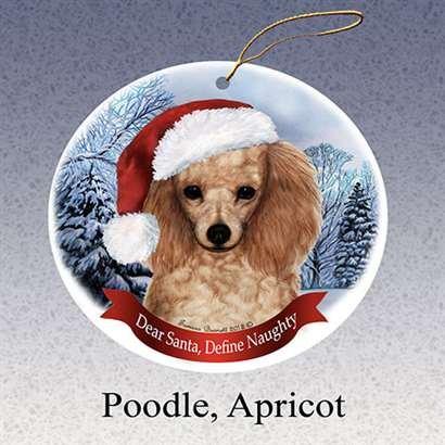 Holiday Pet Gifts Poodle (Apricot) Santa Hat Dog Porcelain Christmas Ornament