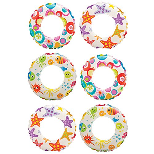 Inch Lively Ocean Friends Print Kids Tube Swim Ring (6 Pack) ()