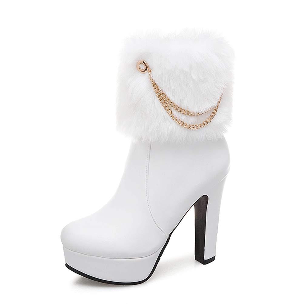 White T-JULY Women Mid Calf Boots Platform Plush Fur Winter High Heel Boots Elegant Ornate shoes Female Footwear