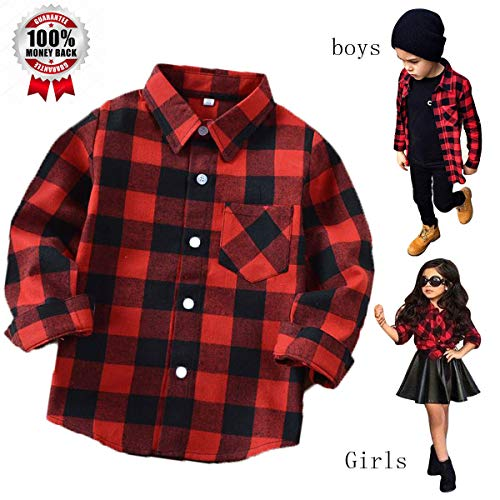 Plaid Shirts for Girls Boys Long Sleeve Button Down Flannel Christmas Plaid Shirt Kids (6 Years,Red ()
