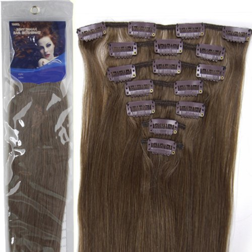 20''7pcs Fashional Clips in Remy Human Hair Extensions 24 Colors for Women Beauty Hot Sale (#08-chestnut brown)