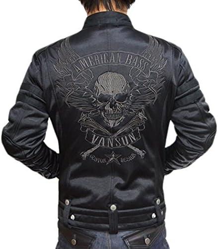 ボンディング シングル ライダース ジャケット フライングスカル 背面総刺繍 ABV-307 ブラックB色