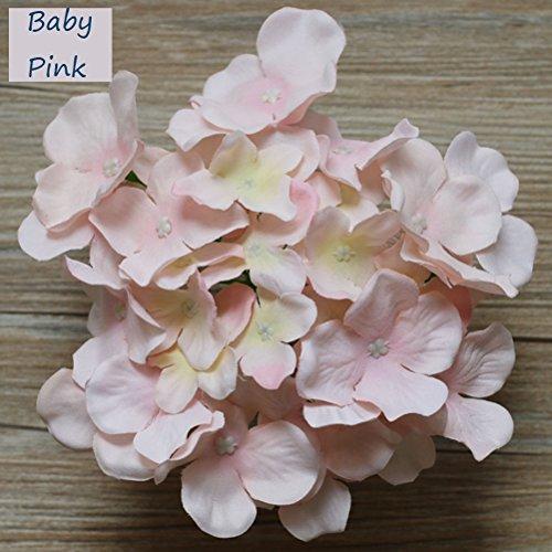 Silk Petals Baby Dresses - Lily Garden Silk Hydrangea Heads Artificial Flowers (12, Baby Pink)