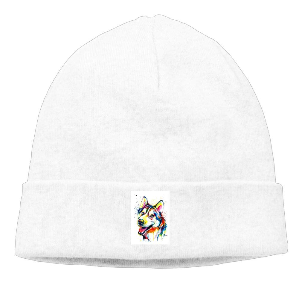 nordic runes Pianted Husky Dog Beanie Hat Winter Warm Knit Skull Cap for Mens//Womens