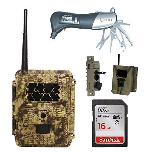 (Spartan HD GoCam at&T 4G LTE + 16GB SD Card + Security Box + Swivel Bracket + TSB Muti-Tool Bundle Deal (Blackout Flash))