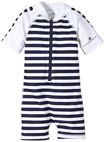 Snapper Rock Baby Boys' Zippered One Piece Short Sleeve Sun Suit, Navy White Stripe, 6 12 Months by Snapper Rock