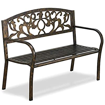 Yaheetech-Metal-antique-Garden-Bench-Doubel-Seat-with-Cast-Iron-Floral-Pattern-Insert-Backres