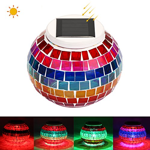 Solar Powered Led Mosaic Glass Garden Stake Lights - 5