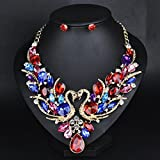 style10 colours - Women Fashion Pendant Crystal Flower Choker Chunky Statement Chain Bib Necklace