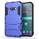 Heartly Samsung Galaxy J1 Ace SM-J110 Back Cover Graphic Kickstand Hard Dual Rugged Armor Hybrid Bumper Case - Power Blue