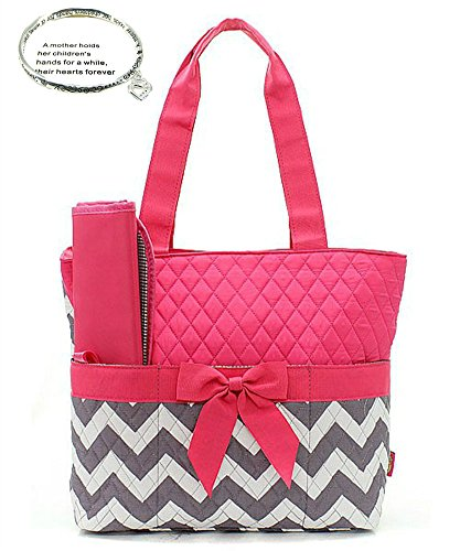 Monogram Ready Quilted Hot Pink and Gray Chevron Print 3pc Diaper Bag Set with Changing Pad and Small Zipper Tote (with Gift for Mom)