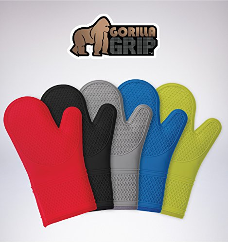 (Gorilla Grip Premium Silicone Non Slip Oven Mitt Set, Soft Flexible Oven Gloves, Professional Heat Resistant Kitchen Cooking Mitts, Protect Hands from Hot Surfaces, Lime, Set of Oven Mitts. )